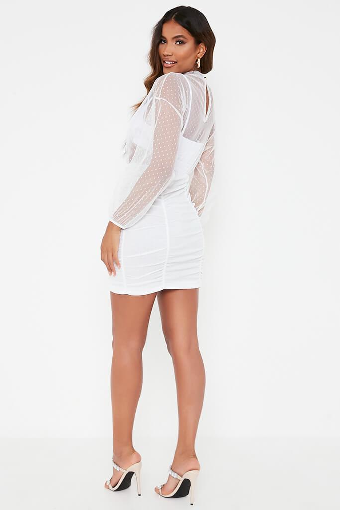 White Dobby Mesh Balloon Sleeve Ruched Dress view 5