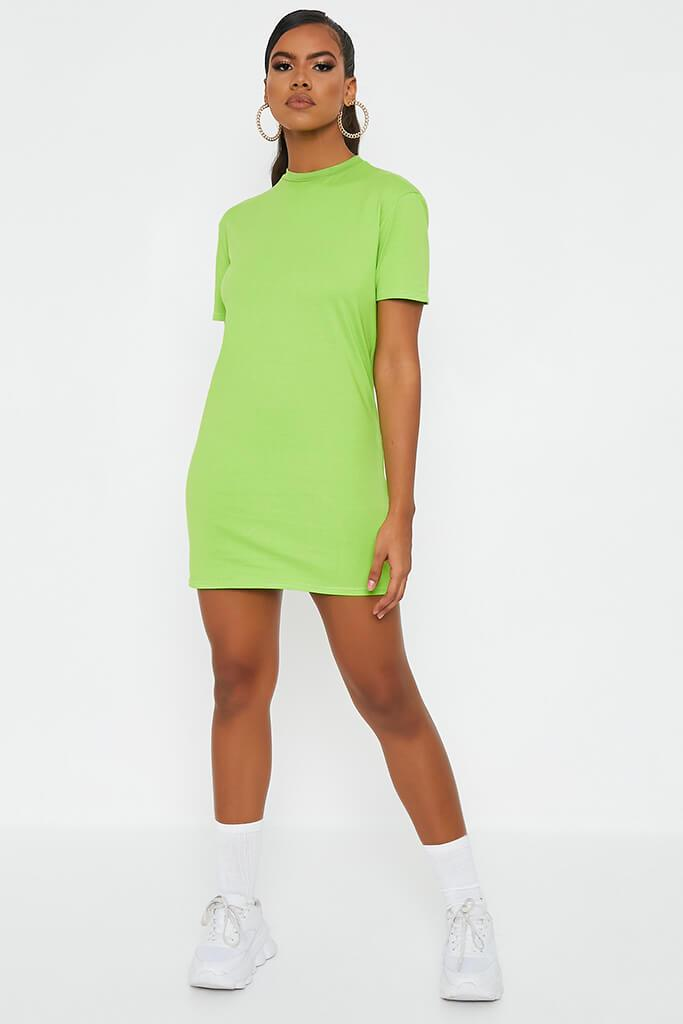 Neon Green Ribbed Collar T Shirt Dress view 2