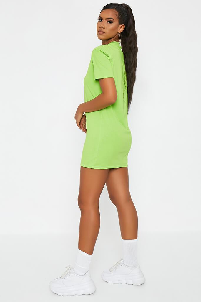 Neon Green Ribbed Collar T Shirt Dress view 3