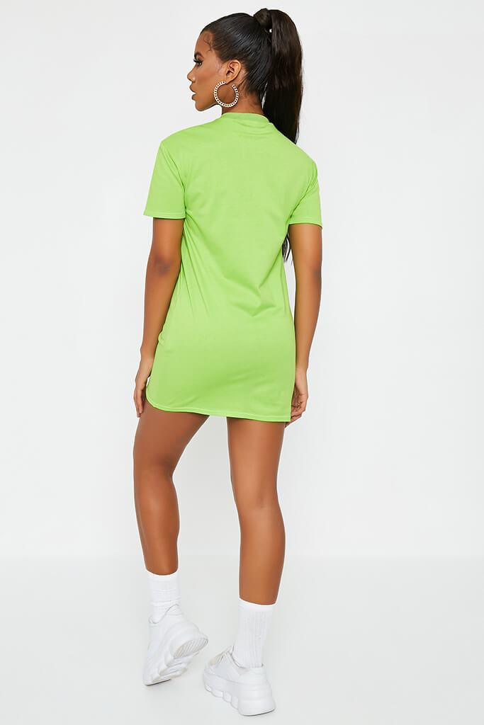 Neon Green Ribbed Collar T Shirt Dress view 5