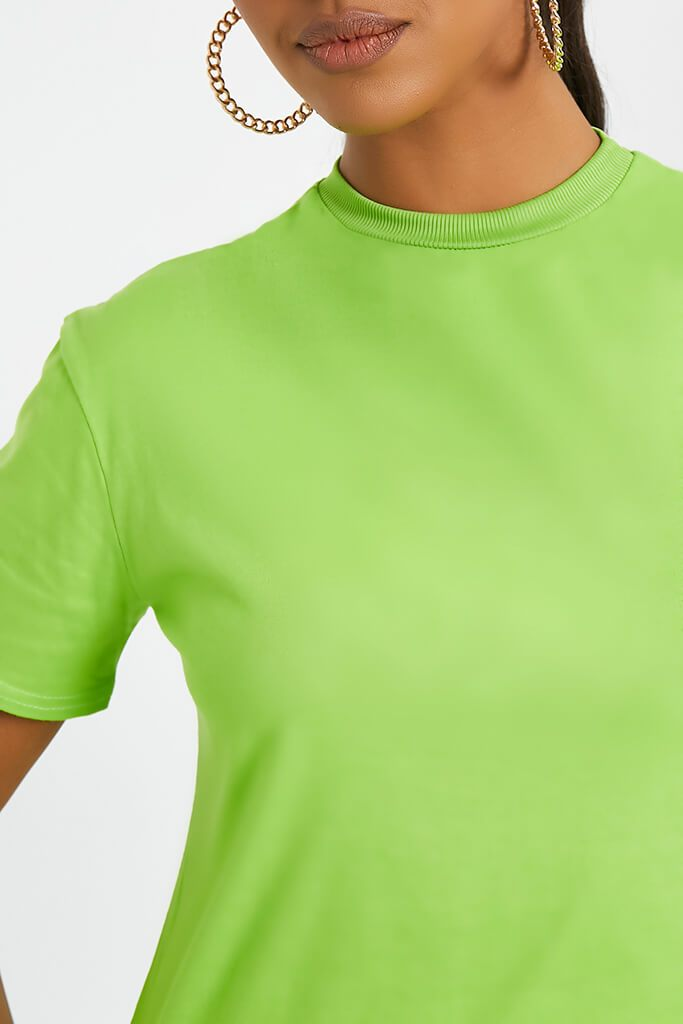 Neon Green Ribbed Collar T Shirt Dress view 4