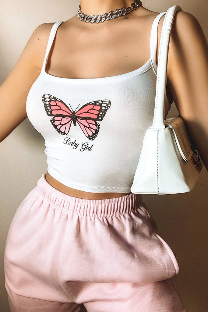White Butterfly Baby Girl Cami Crop Top