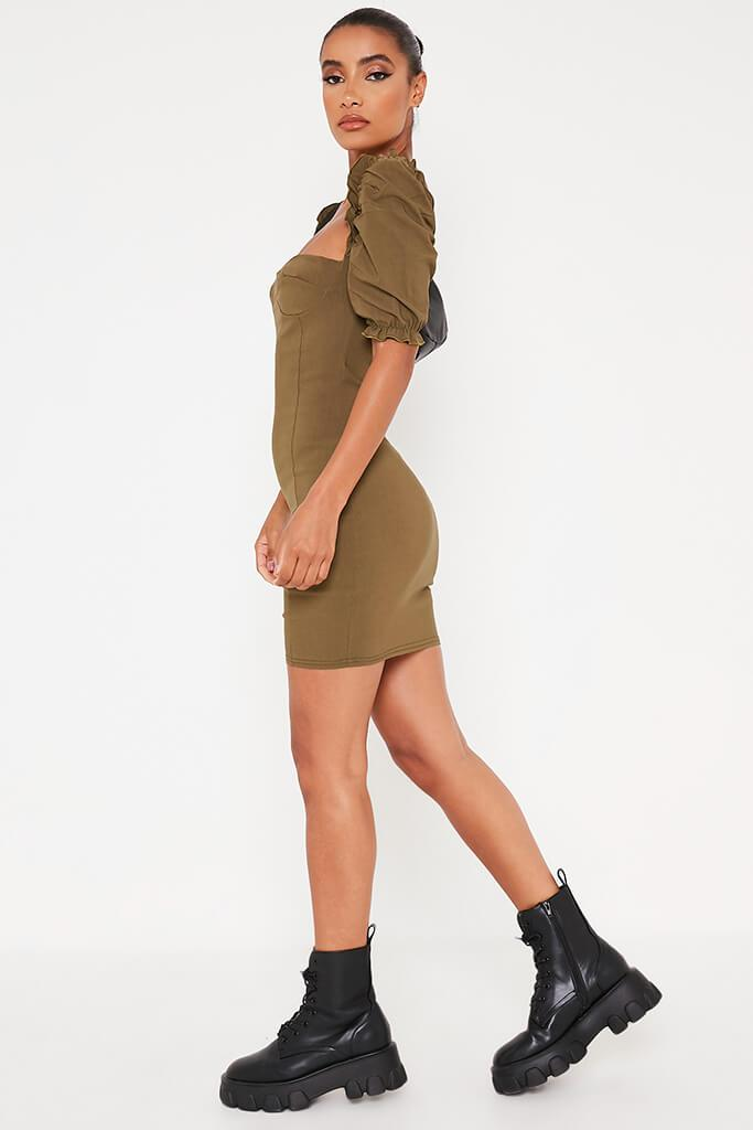 Khaki Bengaline Bardot Puff Sleeve Bodycon Dress view 3