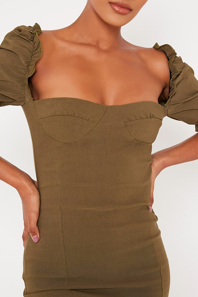 Khaki Bengaline Bardot Puff Sleeve Bodycon Dress view 4