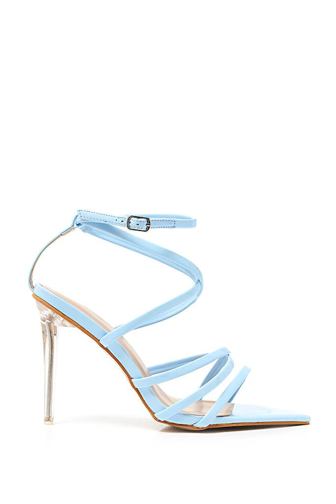Baby Blue Strappy Pointed Heel | Heeled