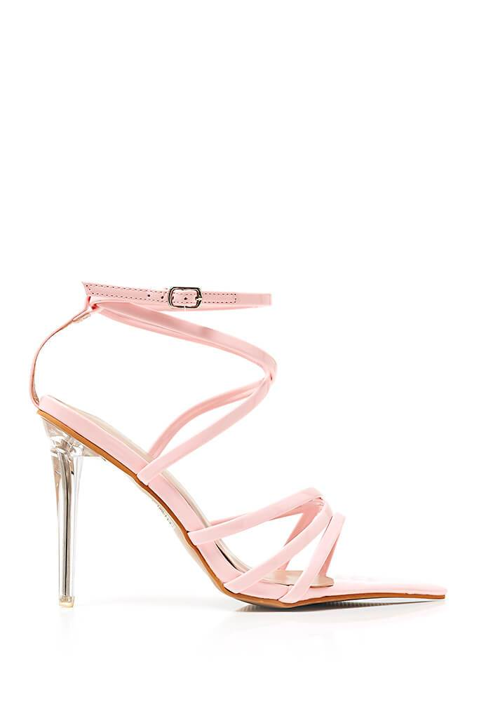 Baby Pink Strappy Pointed Heel