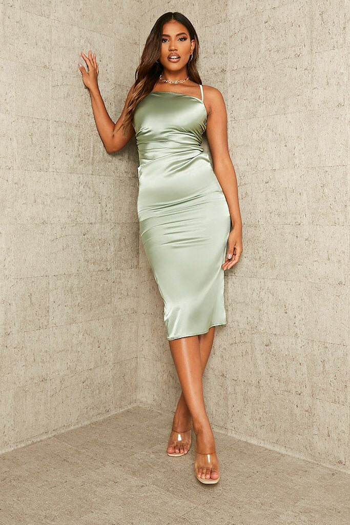 Sage Ruched Satin Bodycon Dress