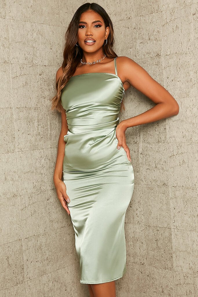 Sage Ruched Satin Bodycon Dress view 2