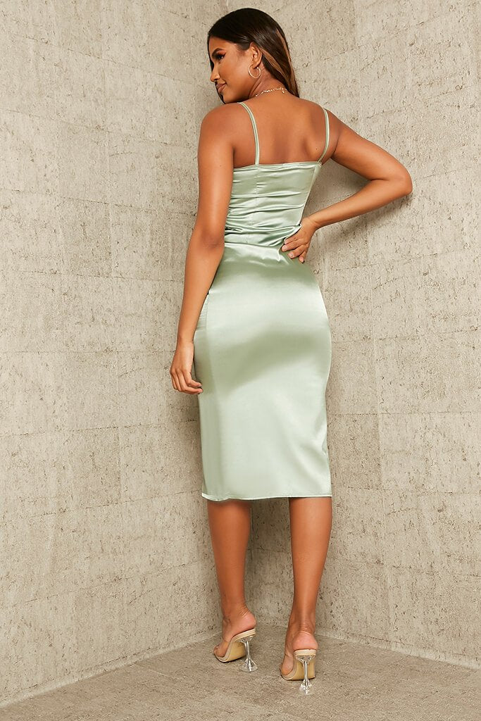 Sage Ruched Satin Bodycon Dress view 5