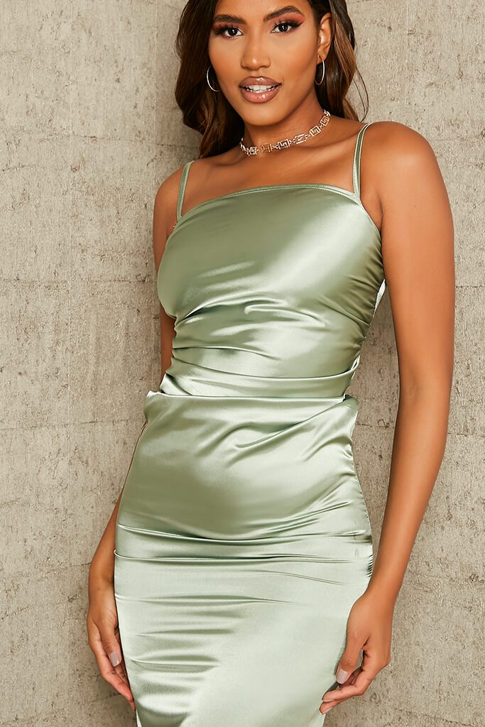 Sage Ruched Satin Bodycon Dress view 4