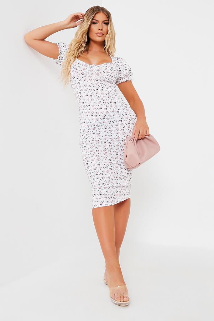 White Jersey Floral Print Puff Sleeve Bodycon Dress