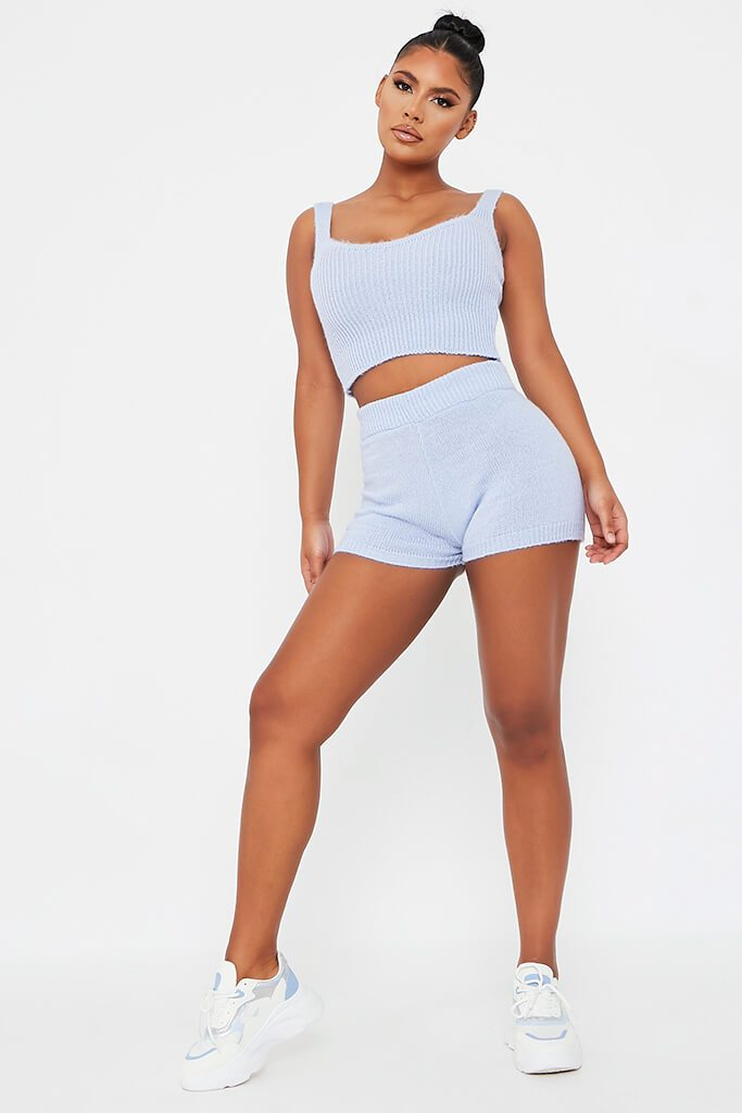 Baby Blue Soft Knitted Crop Top view 3