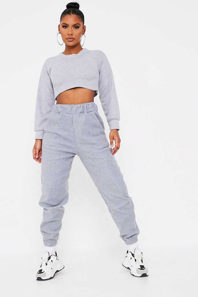 Grey Brushed Oversized Long Sleeve Cropped Sweat view 2