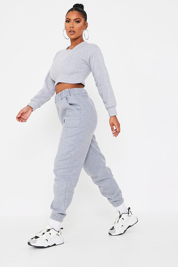 Grey Brushed Oversized Long Sleeve Cropped Sweat view 3