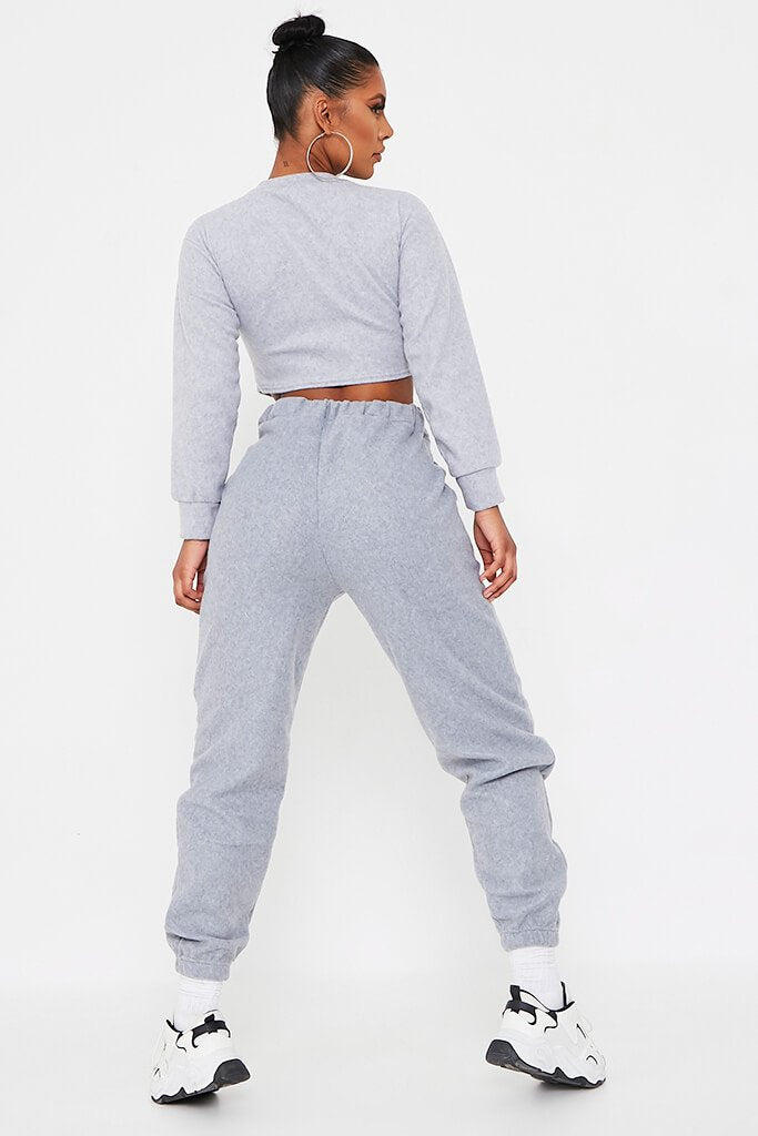 Grey Brushed Oversized Long Sleeve Cropped Sweat view 5