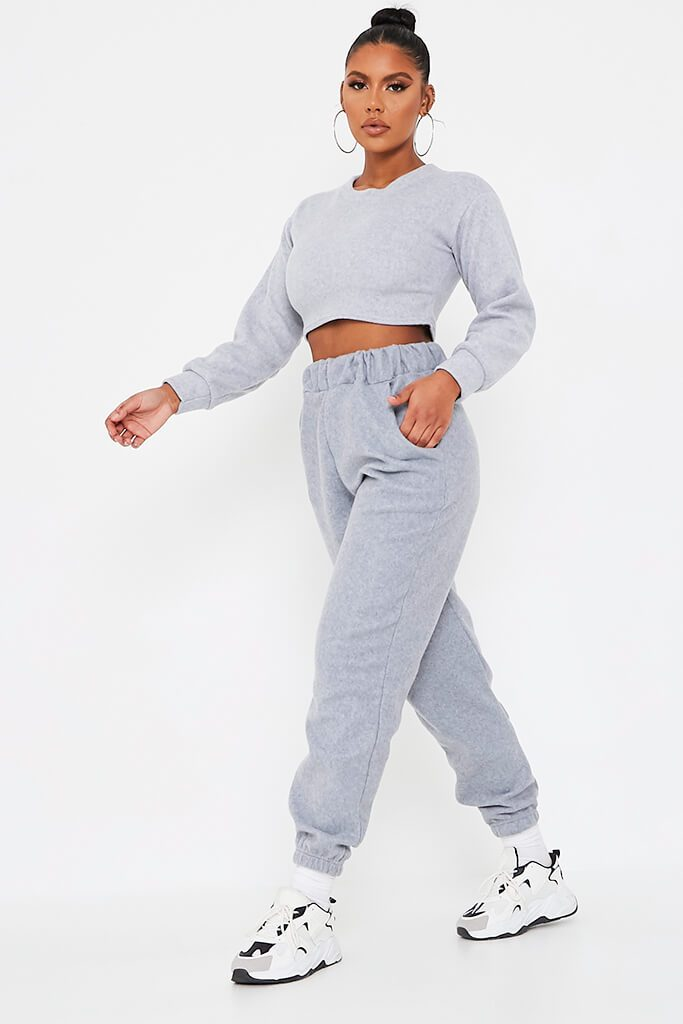 Grey Brushed Sweat Oversized Jogger view 3