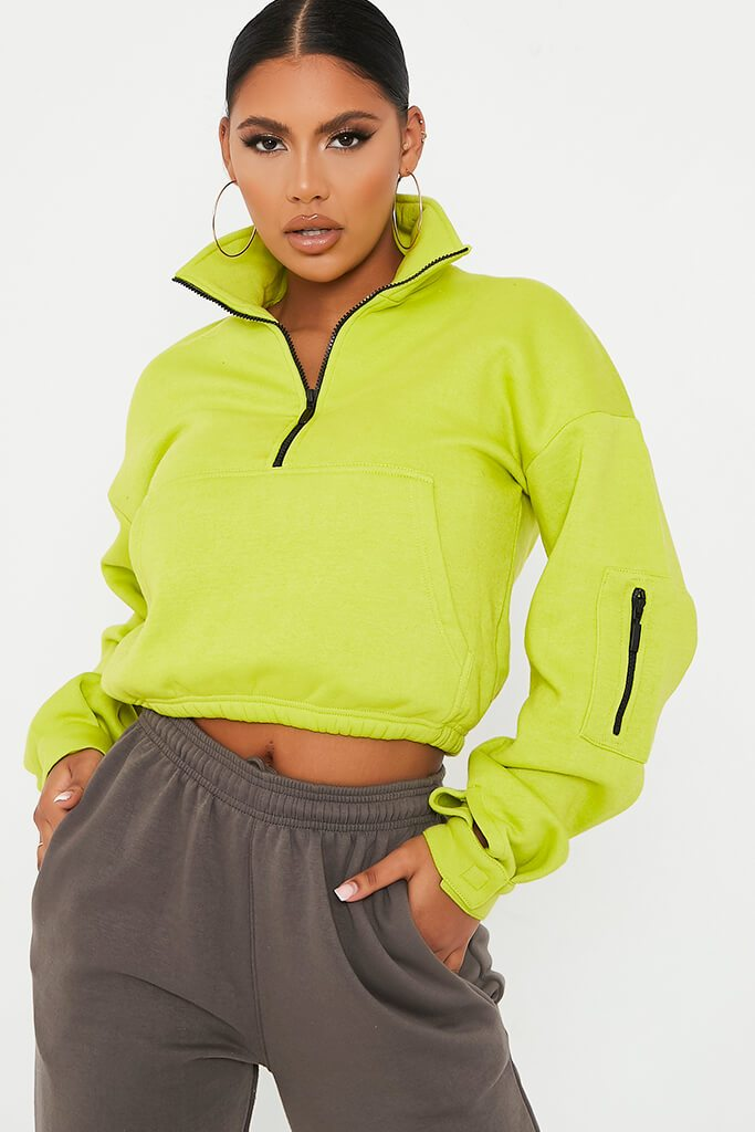Lime Green Half Zip Long Sleeve Pocket Front Sweatshirt view main view