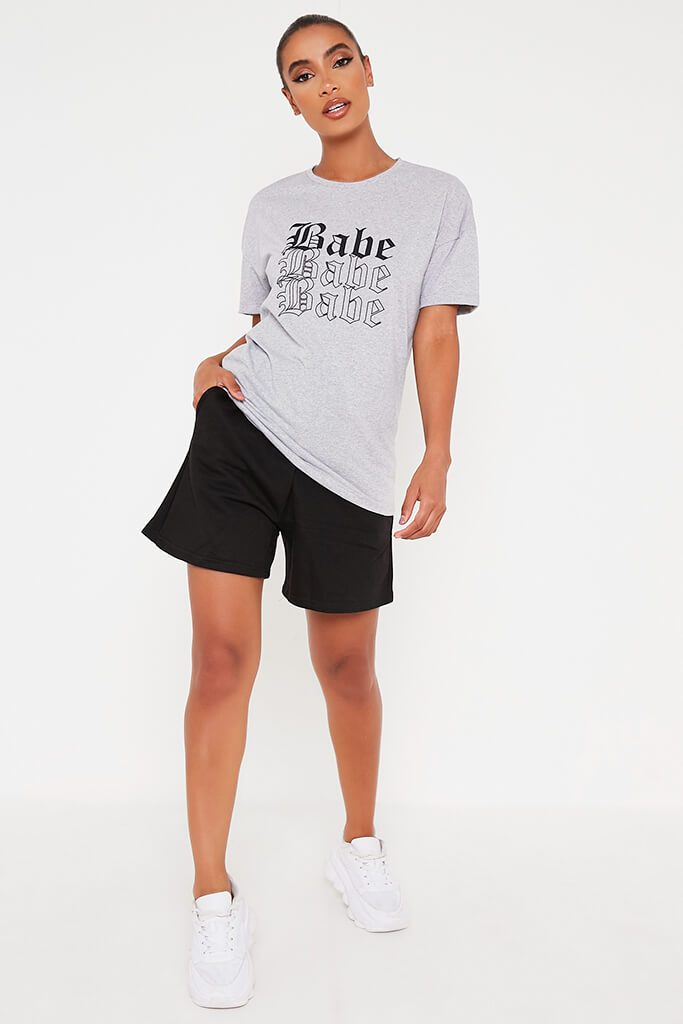 Grey Marl Oversized Babe Slogan T Shirt view 2