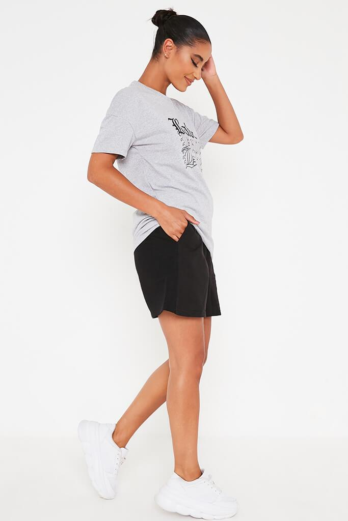 Grey Marl Oversized Babe Slogan T Shirt view 3