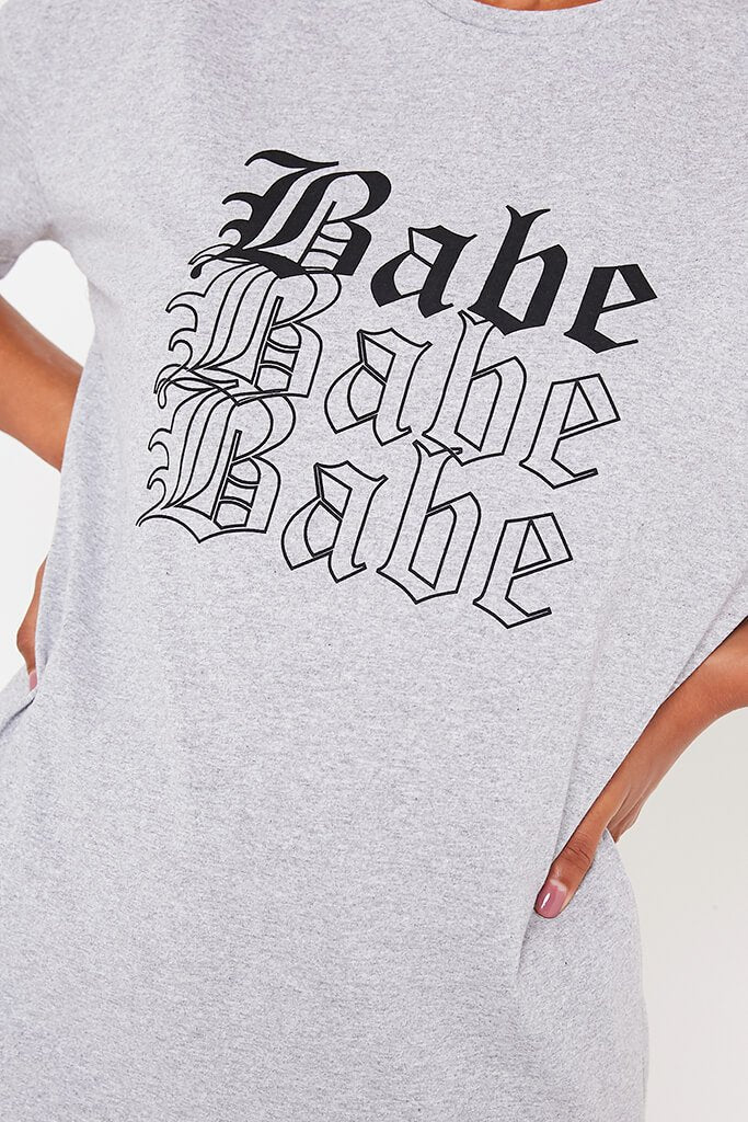 Grey Marl Oversized Babe Slogan T Shirt view 4