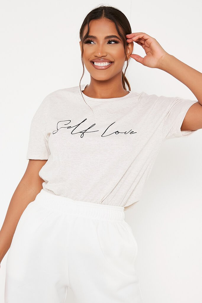 Oatmeal Oversized Self Love T-Shirt view main view