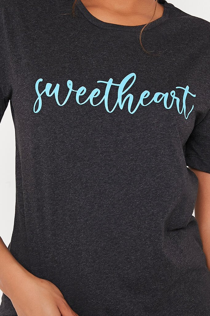 Charcoal Sweetheart Slogan Oversized T-Shirt view 4