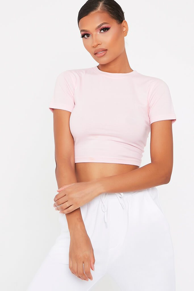 Blush Pink Fitted Cotton Crop T-Shirt
