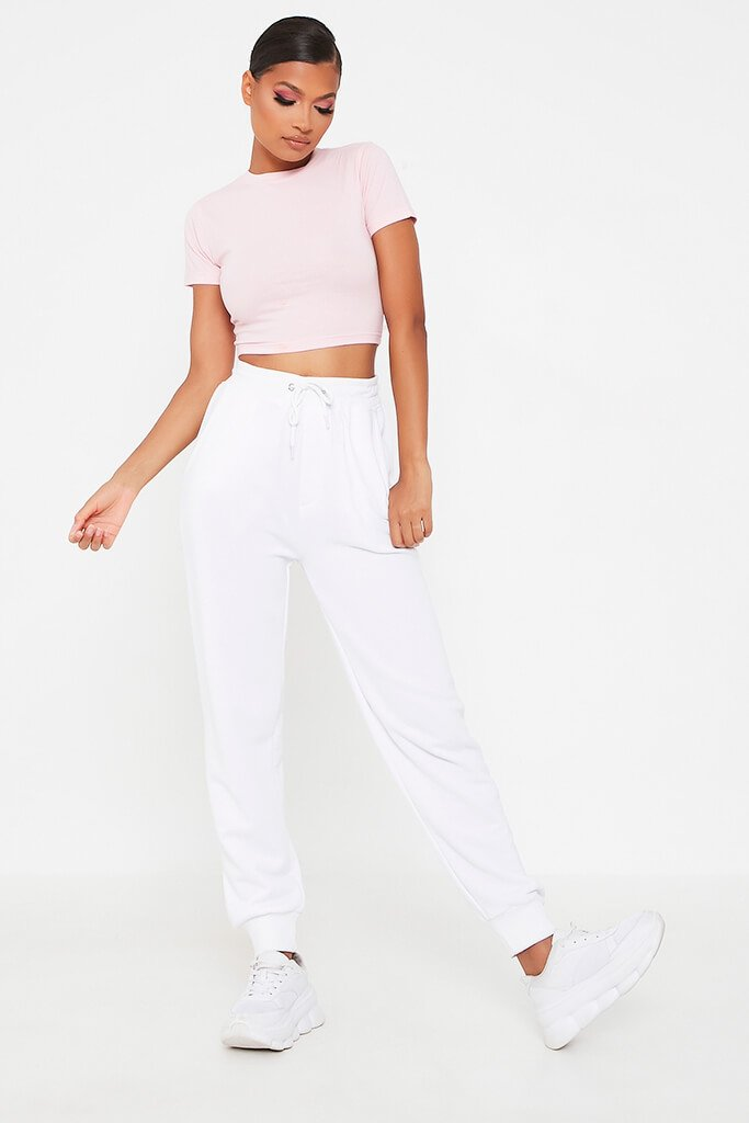 Blush Pink Fitted Cotton Crop T-Shirt view 2