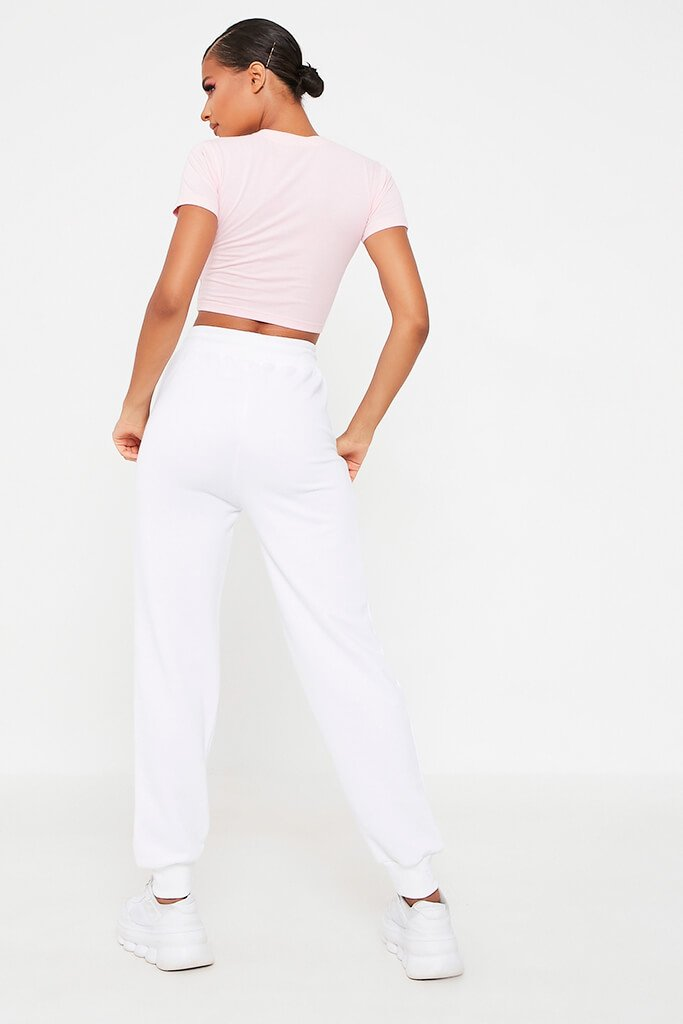 Blush Pink Fitted Cotton Crop T-Shirt view 5