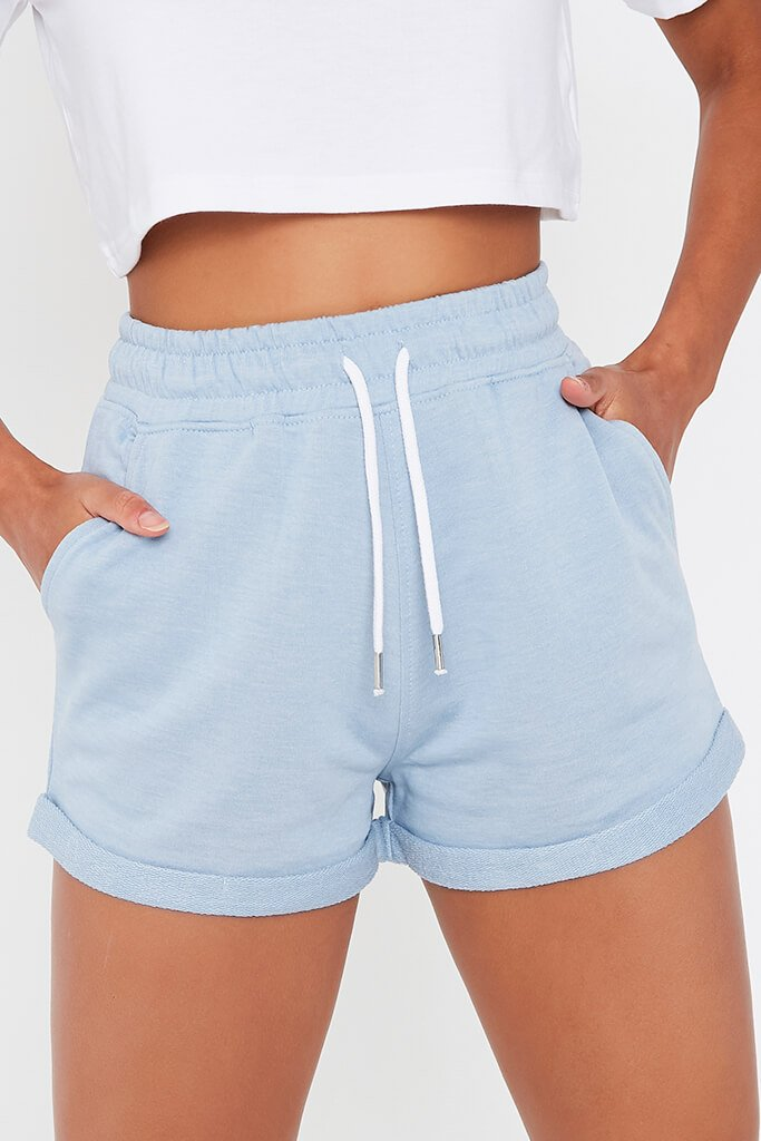 Pastel Blue Turn Up Loopback Runner Shorts view 4