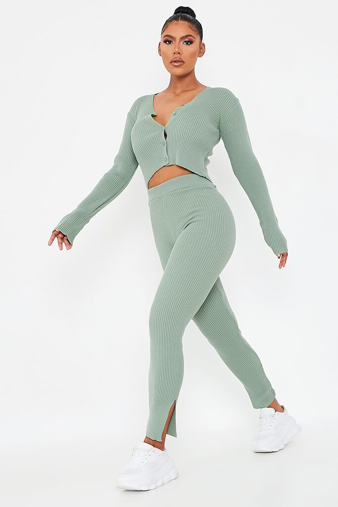 Sage Cropped Lightweight Cardigan view 3