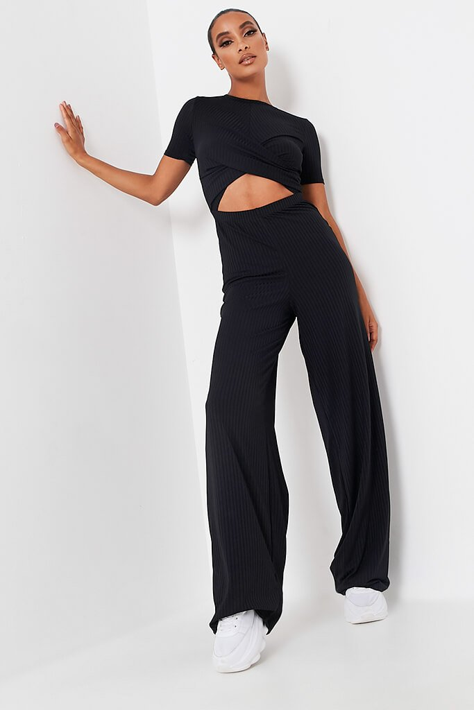 Black Ribbed Cross Front Cut Out Wide Leg Jumpsuit