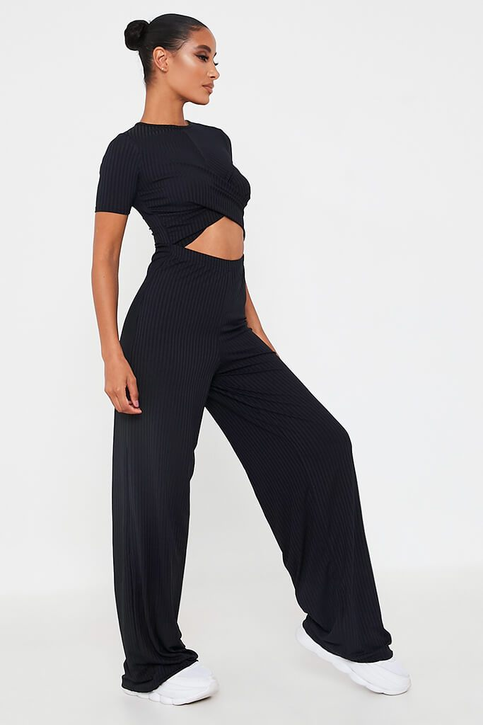 Black Ribbed Cross Front Cut Out Wide Leg Jumpsuit view 3