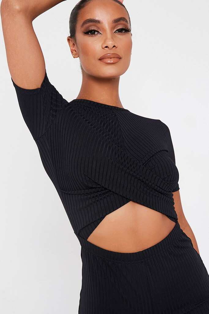 Black Ribbed Cross Front Cut Out Wide Leg Jumpsuit view 4