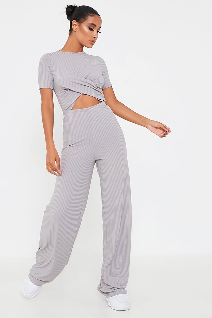 Grey Ribbed Cross Front Cut Out Wide Leg Jumpsuit