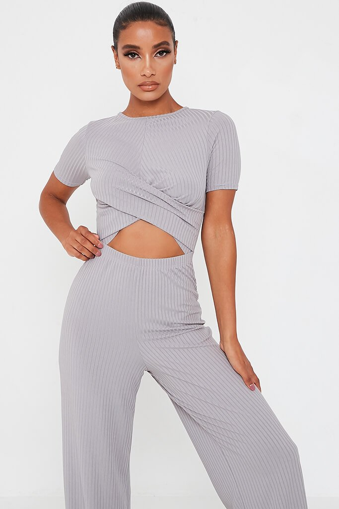 Grey Ribbed Cross Front Cut Out Wide Leg Jumpsuit view 2