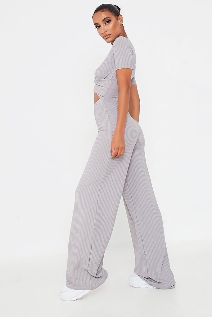 Grey Ribbed Cross Front Cut Out Wide Leg Jumpsuit view 3