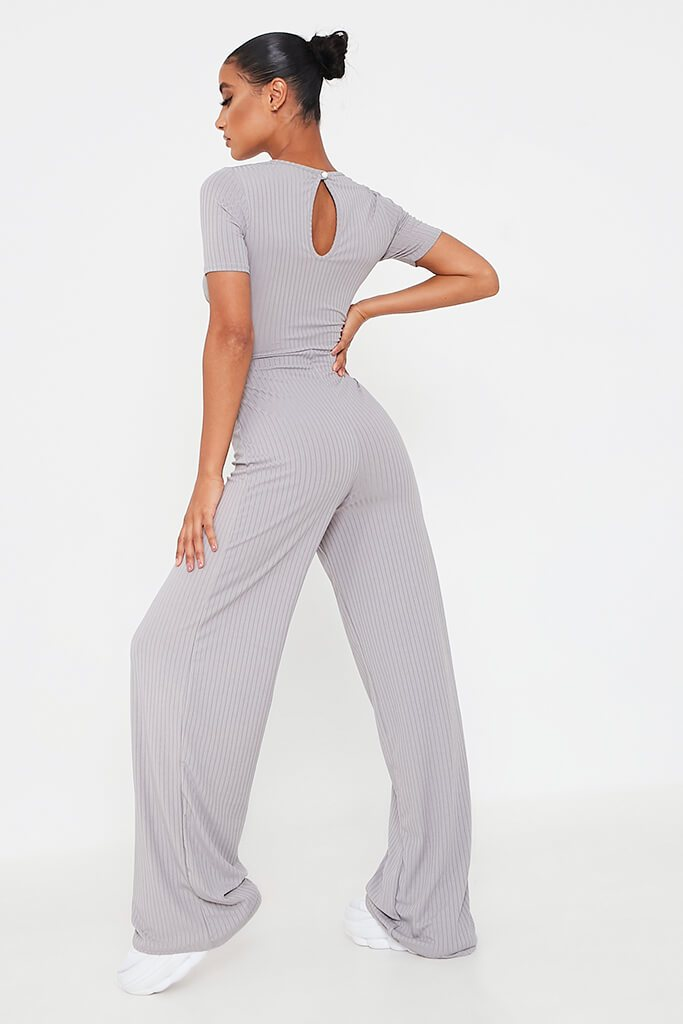 Grey Ribbed Cross Front Cut Out Wide Leg Jumpsuit view 5