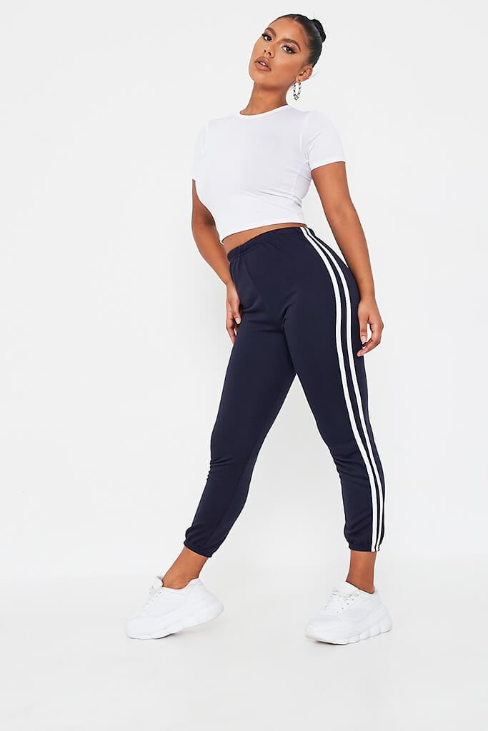 Navy Side Stripe Joggers view 3