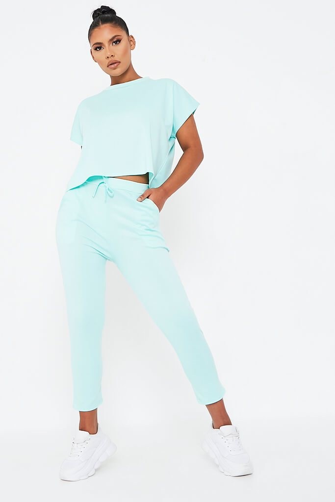 Mint Green Boxy Lightweight Ponte Loungewear Set