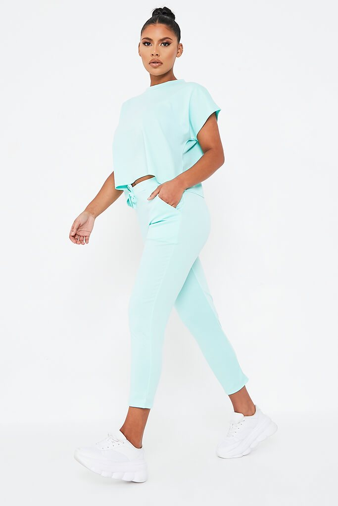 Mint Green Boxy Lightweight Ponte Loungewear Set view 3