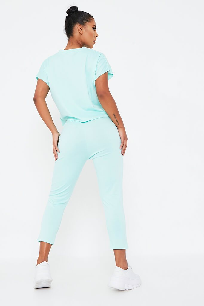 Mint Green Boxy Lightweight Ponte Loungewear Set view 5
