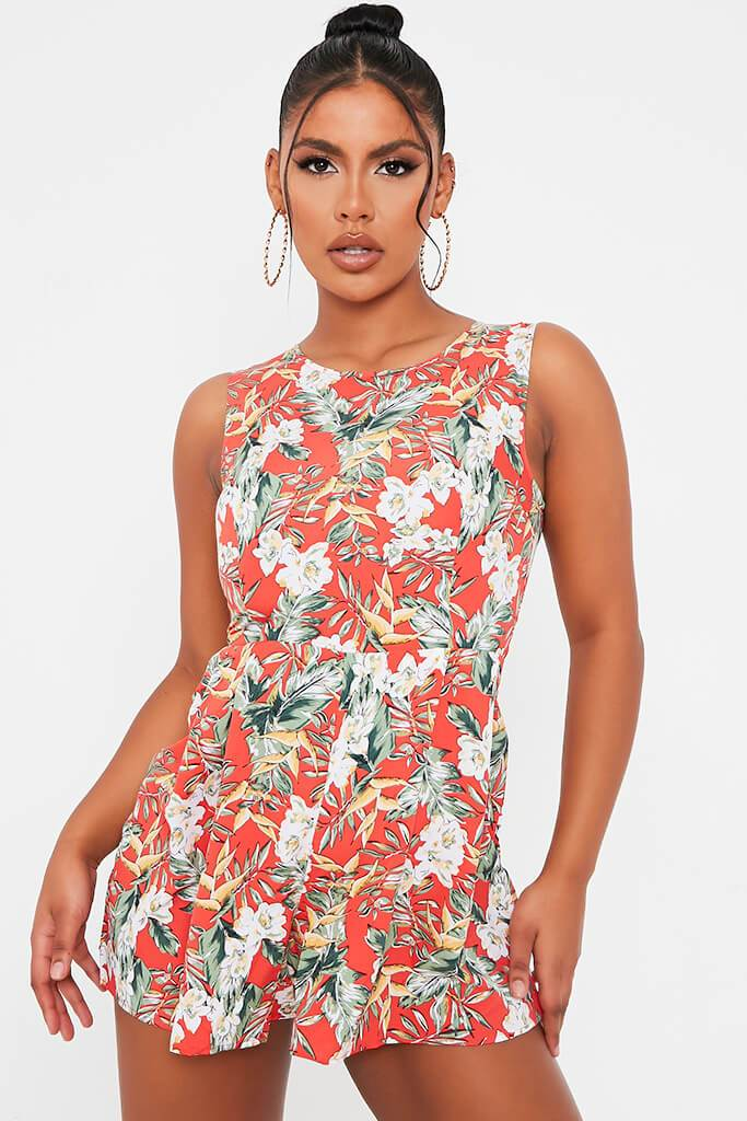 Red Tropical Print Woven Sleeveless Playsuit