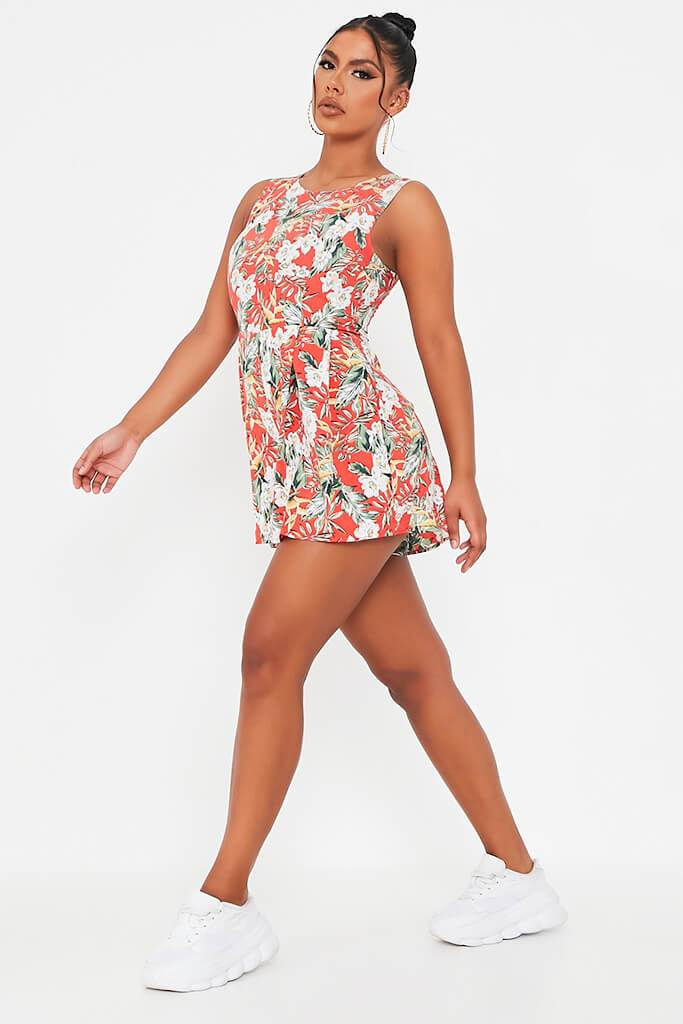 Red Tropical Print Woven Sleeveless Playsuit view 3
