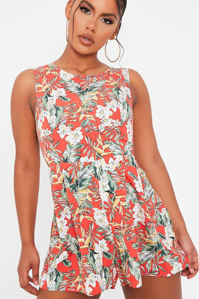 Red Tropical Print Woven Sleeveless Playsuit view 4