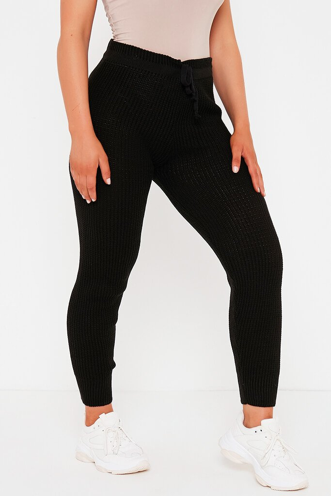 Black Waffle Knitted Joggers view 2