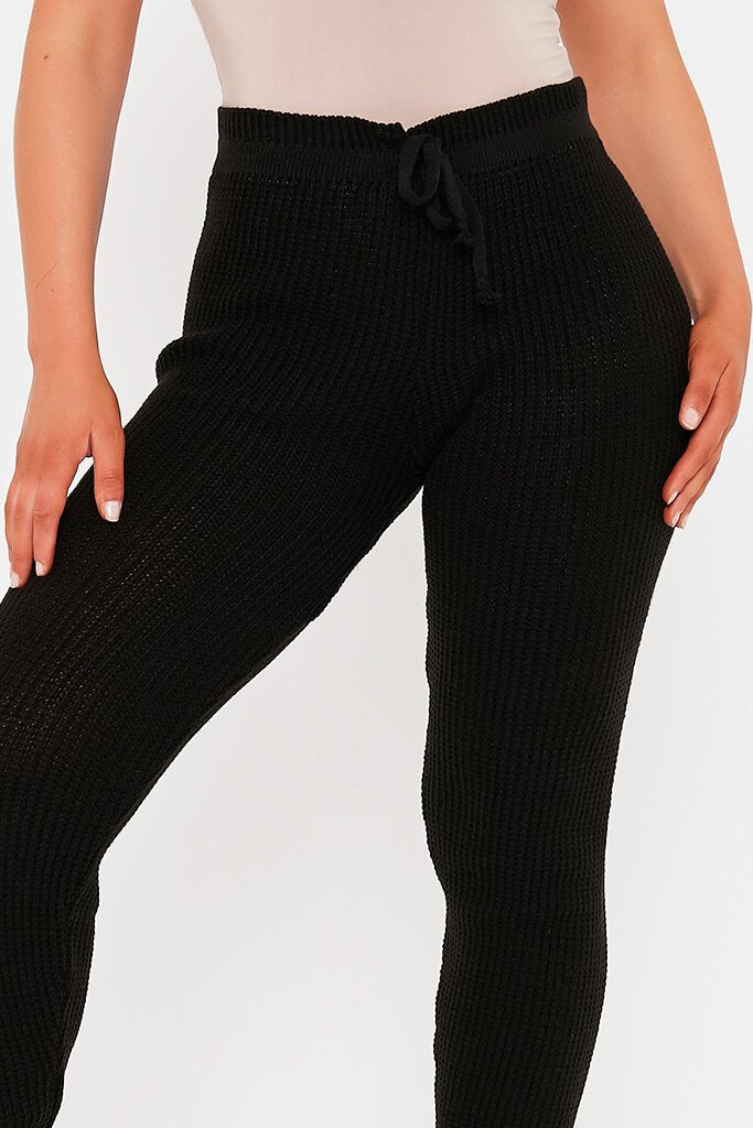 Black Waffle Knitted Joggers view 4