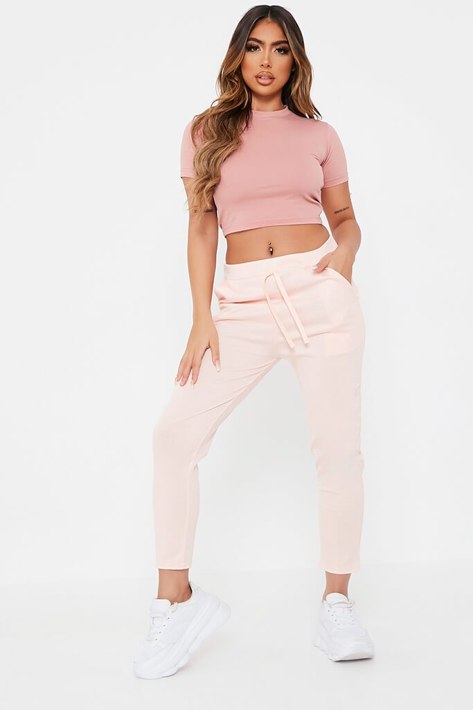 Pink Boxy Ponte Lightweight Jogger view main view