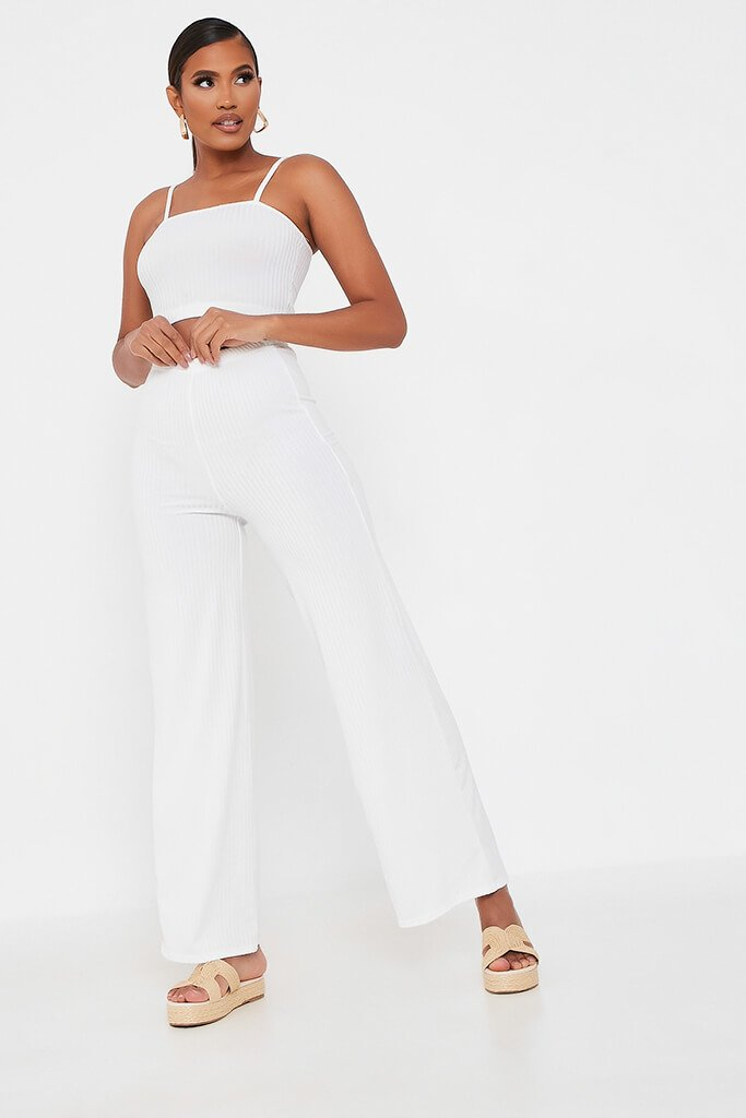 White Ribbed Wide Leg Trouser view main view