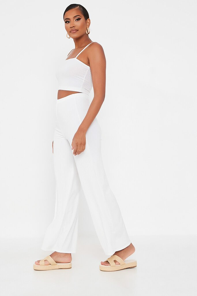 White Ribbed Wide Leg Trouser view 3